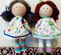 Игровая текстильная кукла. Две подружки