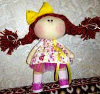 Волосы из пряжи для  текстильной куклы. Косички