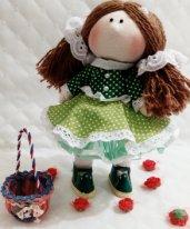 Игровая текстильная кукла. Девочка с корзинкой