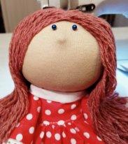 Волосы из пряжи для  текстильной куклы. Парик